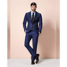 Navy Suits For Sale Australia - New Sale Costume Homme Navy Groom Suit Formal Wedding For Men Groomsman Tuxedos For Peaked Lapel With Suits 3 Pieces