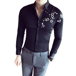 mens dress clothing UK - 2019 Spring Fashion Vintage Embroidery Mens Dress Shirts Long Sleeve Slim Casual Social Camisas Masculina Man Clothing