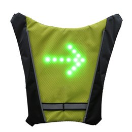 reflective vest led UK - 2019 LED Wireless Cycling Vest MTB Bike Bag Safety LED Turn Signal Light Bicycle Reflective Warning Vests With Remo Accessories