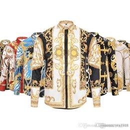 Ingrosso Trasporto di goccia 2017-18 nuova catena dell'oro di Harajuku Medusa dell'oro Cane stampa camicie di modo Retro maglione floreale degli uomini magliette a maniche lunghe delle camice