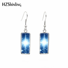 $enCountryForm.capitalKeyWord Australia - 2019 New Shining Star Rectangular Earring Love Stars Fish Hook Earring Silver Art Glass Dome Photo Jewelry