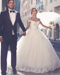 Size 18w Wedding Gown Australia - Plus Size Vintage Arab Wedding Dresses Whit Puffy Ball Gown Vestidos De Boda Floor Length Lace Tulle Off The Shoulder Wedding Dresses DH423