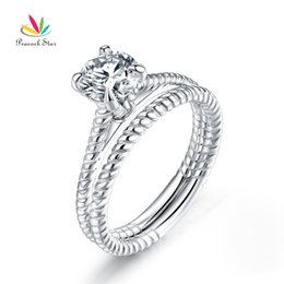 $enCountryForm.capitalKeyWord Australia - Promise Engagement 2-PC Solid Sterling 925 Silver Twist Solitaire Ring Set Bridal Jewelry CFR8291 Dropshipping Service Available