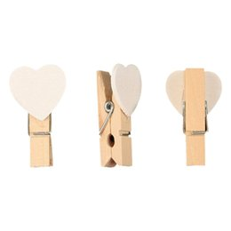 White Photo Paper UK - 40pcs Love Heart Mini Wooden Photo Paper Clips Pegs For Photos Wedding Decor Craft-White