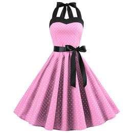 rockabilly pin up UK - Sexy Retro White Polka Dot Dress 2019 Audrey Hepburn Vintage Halter Dress 50s 60s Gothic Pin Up Rockabilly Dress Plus Size Robe