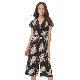 b667955e95 Women Vintage V Neck Floral Jumpsuits Wide Leg Pants Sashes Pleated Elastic  Waist Rompers Summer Casual Playsuits