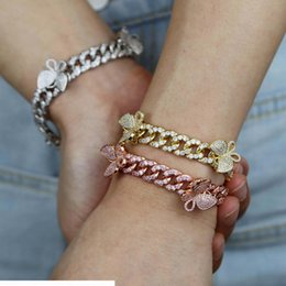pink bangles set UK - 10mm Pink Miami Cuban Link Bracelet With Butterfly Bling Women Jewelry Zircon Hip Hop Chain Bangle