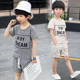 $enCountryForm.capitalKeyWord NZ - Children's Suit Boy Sports Suit Summer New Cotton Casual Short Sleeve T-shirt + Shorts Fashion Two Piece Set White And Gray