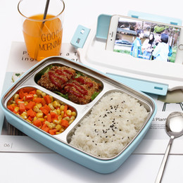 Food Compartment Box Australia - Stainless Steel Lunch Container 3 Compartments Bento Box Insulated Metal Food Storage Lunchbox Perfect for School and Office 1100ml