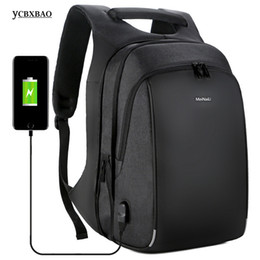 Wholesale Men s Business Backpack USB Charging Anti Theft Inch Laptop Large Capacity Boy College School Bags Male Travel Bagpack