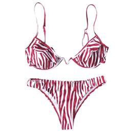 d15bb44001588 Womens Sexy Two Piece Bikini Set Deep V-Neck Irregular Push Up Underwire  Bra Low Waist Ruffles Patchwork Thong Rainbow Stripes P
