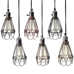 Vintage Cage Ceiling Light NZ - Retro Vintage Industrial Lamp Covers Pendant Trouble Light Bulb Guard Wire Cage Ceiling Fitting Hanging Bars Cafe Lamp Shade
