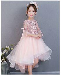$enCountryForm.capitalKeyWord Australia - Pink Hi-Lo Flower Girl Dresses Long Sleeve Girls Pageant Dresses Lace Little Girl Dress Sleeveless Model Walking Show Girl In Stocks