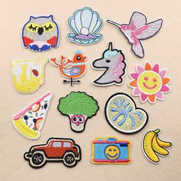 Discount pizza machines - Camera Shell Birds Smile Sun Pizza Embroidery Patches Sew Iron On Applique Repair DIY Badge Patch For Kids Clothes Jacke
