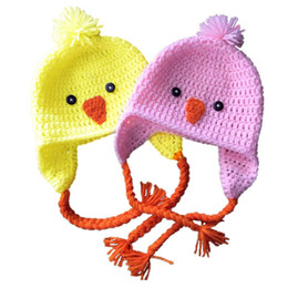 $enCountryForm.capitalKeyWord NZ - Adorable Twins Easter Chick Hat,Handmade Knit Crochet Baby Boy Girl Farm Animal Hat,Kids Spring Earflap Cap,Infant Newborn Photo Prop