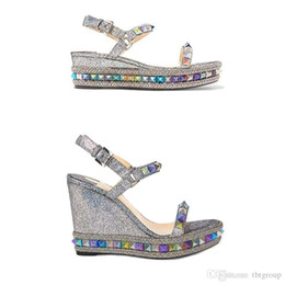 $enCountryForm.capitalKeyWord Australia - Designers Espadrille Wedge Sandals Red Bottom Women High heel Platform shoes Summer Luxury silver glitter-covered leather Shoes 25 Color