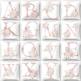 $enCountryForm.capitalKeyWord Australia - Pink 26 English Letters print Cushion Cover Modern Simple Rose Washable Polyester Decor Pillow Cover Soft Car Seat Pillowcase