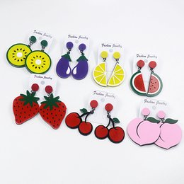 $enCountryForm.capitalKeyWord Australia - Summer Lovely Fruits Earrings Colorful Cartoon Watermelon Strawberry Kiwi Long Earrings Drop Dangle Earring for Woman Girls Students