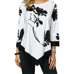 plus size gold tops women Canada - Plus Size S-5XL Women Tops Tee Spring Autumn Female Floral Print T Shirt Casual O-Neck Irregular T Shirt Large Size Top Pullover