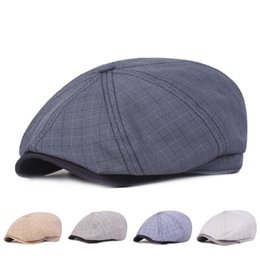 3339dc86dcd44 Vintage Plaid Cotton Berets Hats Men Casual Peaked Caps Duckbill Breathable  Line Cap Casual Bone Brim Hat Travel Hat Spring 2019