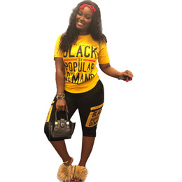 987d8aa1b38 Women Summer Shorts Set Black Letter Track Suit Sportswear T-shirt 2 Piece  Joggers Street Fitness Set Summer Short SLeeve Outfit A5906
