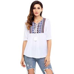 half t shirts for women 2019 - Embroidery Half Sleeve T Shirt Women 2018 Autumn Lace Up Tops For Women T-Shirts Bohemian O Neck T-Shirt Tops cheap half