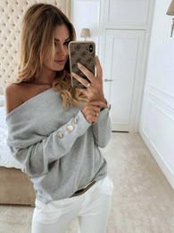 Wholesale plus off shoulder tops online – Top Blouse Women Autumn Casual Button Long Sleeve Off Shoulder Top Blouse blusas mujer de moda plus size