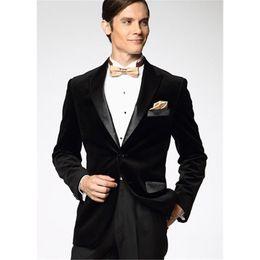 $enCountryForm.capitalKeyWord Australia - Brand New Groomsmen Peak Lapel Groom Tuxedos Black Velvet Men Suits Wedding Prom Dinner Best Man Blazer ( Jacket+Pants+Tie) NO:1316