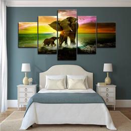 $enCountryForm.capitalKeyWord Australia - 5pcs Animal Elephants Play on Sea Colorful Sunset Wall Art HD Print Canvas Painting Fashion Hanging Pictures Bedroom Decor