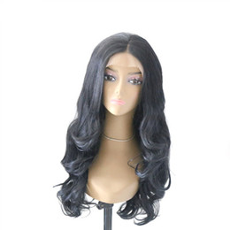Hair Black Big Waves UK - Fashion Wig With Big Wavy Curly Hair Black Half Hand Hook Front Lace Chemical Fiber Wig Set jooyoo