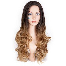 Chinese  Thick Brown Blonde Ombre Wig Wavy Long Heat Resistant Synthetic Wigs For Women Hair Wig manufacturers
