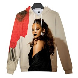 rihanna clothing NZ - Rihanna Mens Designer Hoodies 3D Character Printed Casual Street Style Thick Long Sleeved Hooded Pullover Sweatshirts Fashion Male Clothing