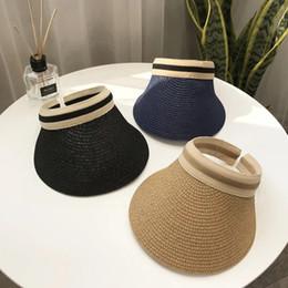 Hands Free Visor Australia - Woman Straw Visor Sun Hats Fashion Hand Made Straw Beach Empty Top Caps Outdoor Travel Wide Brim Sun Hat TTA604