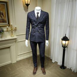 Blue Plaid Jacket Australia - XM GEEKI Men Wedding Suit Jackets European and American Dark Blue Plaid Double-breasted Suits Male Suit British style 365wt40