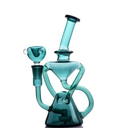 Rigs Bongs Australia - 8.7 Inchs Klein Recycler Bong Smoking Glass Water Pipes Heady Dab Rigs Water Bongs Unique hookahs With 14mm Bowl Tobacco