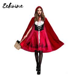 Wholesale cloak online – ideas Echoine Halloween Little Red Riding Hood Dress with Cloak Women Adult Cosplay Costume Plus Size S XL Queen Halloween Costume