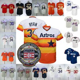 f9018d9461e Nolan Ryan Jersey Cooperstown 1999 Hall of Fame Astros Mets Texas Jerseys  Rainbow White Blue Orange Mesh Cream Pinstripe BP Red