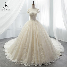 Cathedral Style Wedding Dresses Australia - Eren Jossie Fashion Royal Cap Sleeve Style Beige Wedding Dress Cathedral Train High Quality Ladies Gown SW563