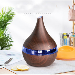 New USB Electric Aroma Diffuser Led Wood Air Humidifier Essential Oil Aromatherapy Machine Cool Purifier Maker For Home Fragrance HH7-2004 on Sale