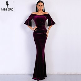 $enCountryForm.capitalKeyWord NZ - Missord 2019 Women Sexy Off Shoulder Speaker Sleeve Female Dresses Velvet Solid Color Bodycon Elegant Maxi Party Dress Ft9080 Y19050805