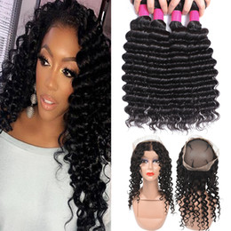 brazilian loose body wave 2019 - 9A Brazilian Virgin Hair Bundles With Closures 360 Full Lace Closure Body Wave Straight Loose Wave Kinky Curly Deep Wave