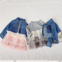 $enCountryForm.capitalKeyWord Australia - Newest INS Kids Boys Girls Denim Coats Autumn Sping Turn-down Collar Front Buttons Children Fall Dresses Outwears Denim Jackets