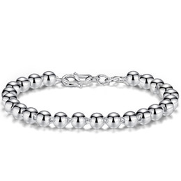 $enCountryForm.capitalKeyWord UK - Smooth Ball Bracelet Silver Bead Bangles For Women Men Couples Lover Wedding Lucky Happiness Blessing Buckle Chain Charm Bracelets