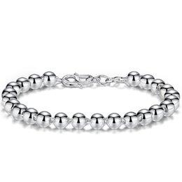 eb6775021a69 Suave bola pulsera brazalete de cuentas de plata para mujeres hombres  parejas amante de la boda suerte felicidad bendición hebilla de cadena  pulseras del ...