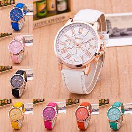$enCountryForm.capitalKeyWord NZ - Luxury Geneva Watch Unisex PU Leather Band Quartz Watches Men Women students Wrist Watch Roman Numerals Analog Wristwatches Bracelet 2019