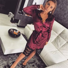 Sexy Women s Solid Lingerie Sleepwear Lace Dress Long Sleeve Ladies Long  Bathrobe Night Gown Robe Sleep Dress 44d2257fe