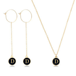 initial earrings Australia - YANGQI Personalise A-Z Name Initials Earrings&Necklace Sets For Women Female Double Side Handmade Fashion Jewelry Drop Shipping