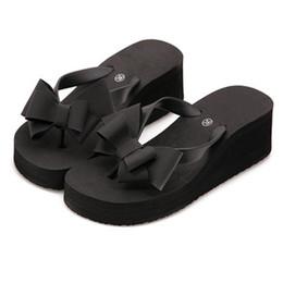 Wedges Flip Flop Sandals UK - Fashion Women Slippers Platform Wedge Bohemian Bowknot Ladies High Flat Heel Fabala Flip Flops Sandals Antiskid