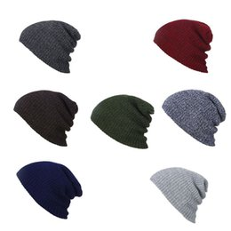 c1750ba3fca Winter Acrylic Fiber Ribbed Knitted Hat Vertical Striped Solid Color  Windproof Slouchy Baggy Beanie Cap Loose Outdoor Ear Warmer