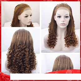 brazilian twist hair UK - New Sexy Havana Twist Braided pelucas Kinky Curly Brown Braiding Hair Glueless Brazilian Synthetic Lace Front Wigs for Black Women Heat R